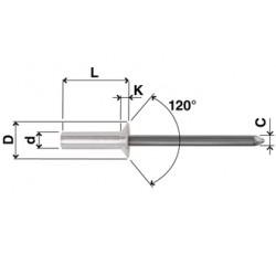 Rivetti Tenuta Stagna Testa Svasata Alluminio / Acciaio
