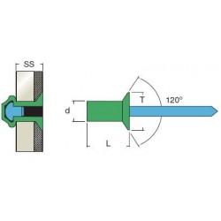 Rivetti Tenuta Stagna Testa Svasata Alluminio / Inox