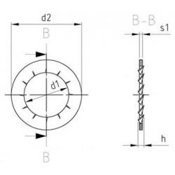 Rondelle di Sicurezza Dentate a Ventaglio Inox DIN 6798 Tipo J
