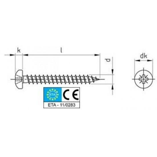 Viti Truciolari Testa Cilindrica Impronta Croce PZ Inox Interamente/Parzialmente Filettate Pv. 9048