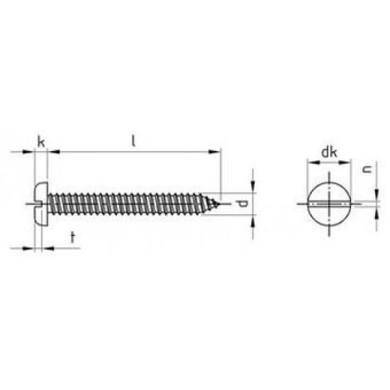 Viti Autofilettanti Testa Cilindrica con Intaglio Inox DIN 7971