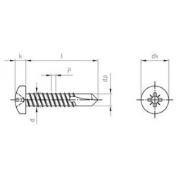 Viti Autoperforanti Testa Tonda Forma M Inox DIN 7504