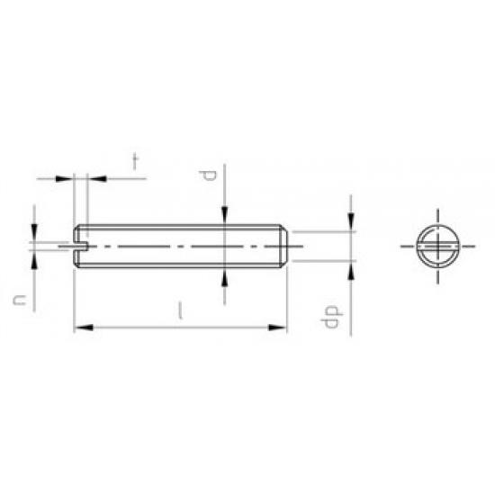 Grani ad Intaglio con Estremità Piatta DIN 551 Inox