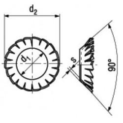 Rondelle Elastiche Coniche Forma V con Dentatura Esterna Sovrapposta DIN 6798V
