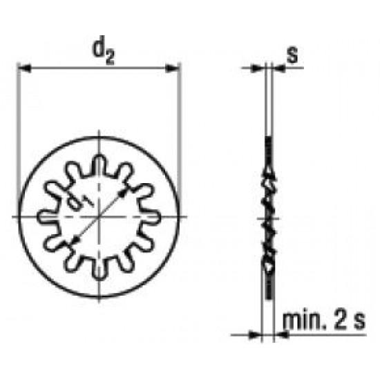 Rondelle Elastiche Dentate Forma J Con Dentatura Interna DIN 6797J