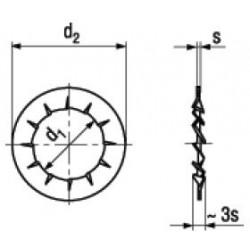 Rondelle Elastiche Dentate Forma J con Dentatura Interna Sovrapposta DIN 6798J