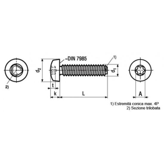 Viti Autoformanti Testa Bombata Torx DIN 7500C