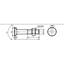 Bulloni Testa Svasata Piana con Nasello e Dado Esagonale DIN 604 - UNI 6105