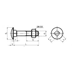 Bulloni Testa Tonda Larga Quadro Sottotesta con Dado Esagonale Classe 8.8