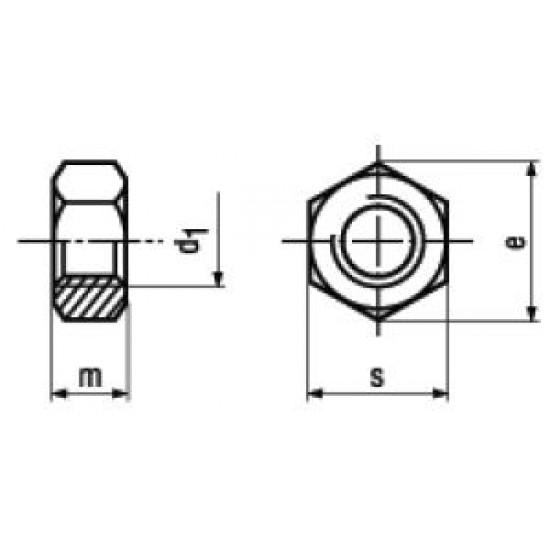Dadi Esagonali Medi UNI 5588 ISO 4032 DIN 934 Zincatura / Brunitura Nera