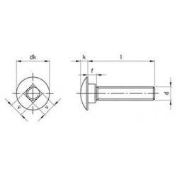 Viti Testa Tonda Con Quadro Sottotesta Interamente/Parzialmente Filettata Inox DIN 603