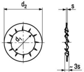 Rosette Elastiche Dentate Forma J con Dentatura Interna Sovrapposta DIN 6798J