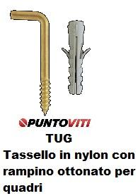 Tassello in nylon con rampino ottonato per quadri TUG